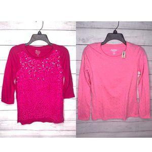 2 Pink Old Navy Long Sleeve Shirts YXL